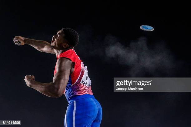 Anyel E Alvarez of Cuba competes in the boys discus throw final during day 4 of the IAAF U18 World Championships at Moi International Sports Centre...