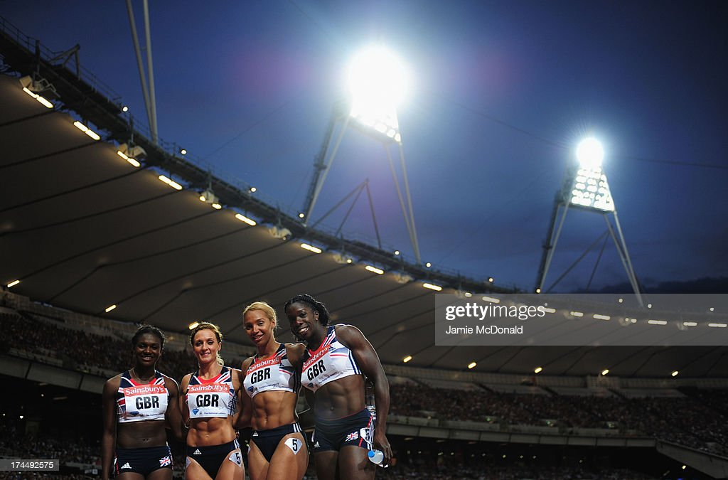 Anyika Onuora, Ashleigh Nelson, Annabelle Lewis and Dina Asher Smith of Great Britain pose after competing in the Women's 4 x 100m relay on day one during the Sainsbury's Anniversary Games - IAAF Diamond League 2013 at The Queen Elizabeth Olympic Park on July 26, 2013 in London, England.