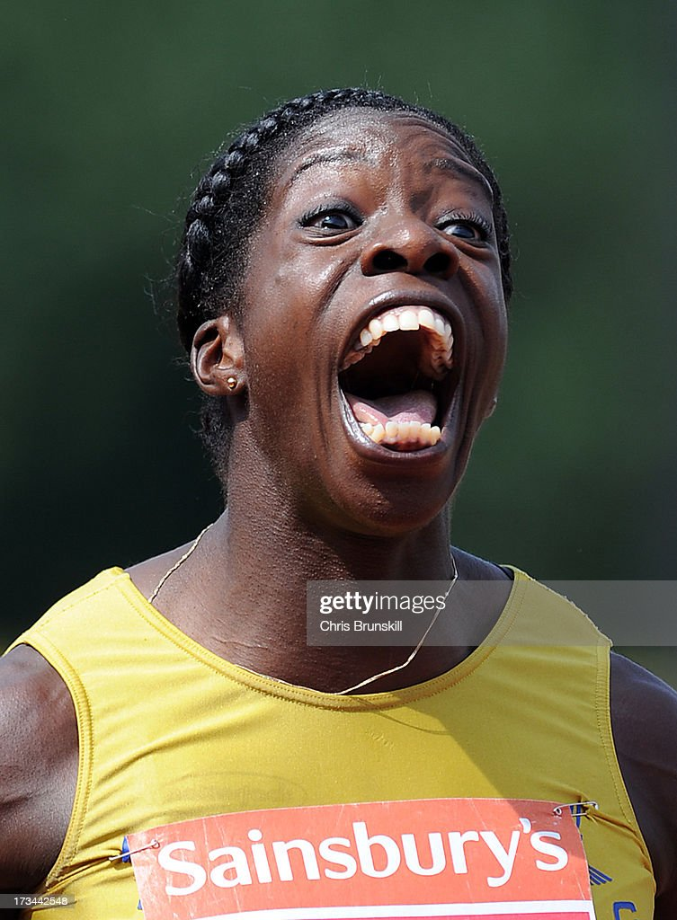 Anyika Onuora celebrates after winning the 200m final during day three of the Sainsbury's British Championships, British Athletics World Trials and UK & England Championships at Alexander Palace on July 14, 2013 in Birmingham, England.