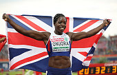 Anyika Onuora of Great Britain celebrates winning the bronze medal in the final of the womens 400m on day three of The 23rd European Athletics...