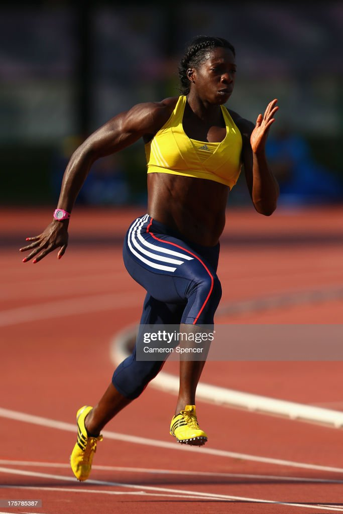 Anyika Onuora of Great Britain sprints at the Northern Arena training track ahead of the 14th IAAF World Athletics Championships Moscow 2013 on August 8, 2013 in Moscow, Russia.