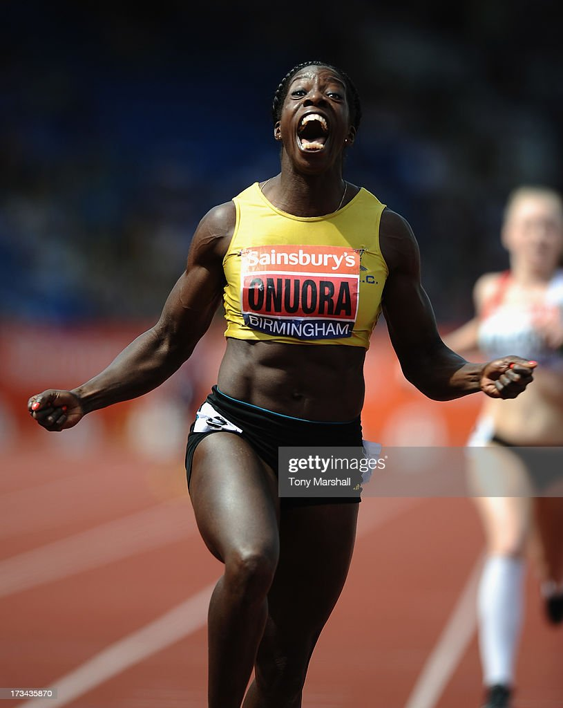 Anyika Onuora of Liverpool Harriers celebrates after winning the final of the Womens 200m during the Sainsbury's British Championships Birmingham - British Athletics World Trials and UK & England Championships: Day Three at Alexander StaAdium on July 14, 2013 in Birmingham, England.