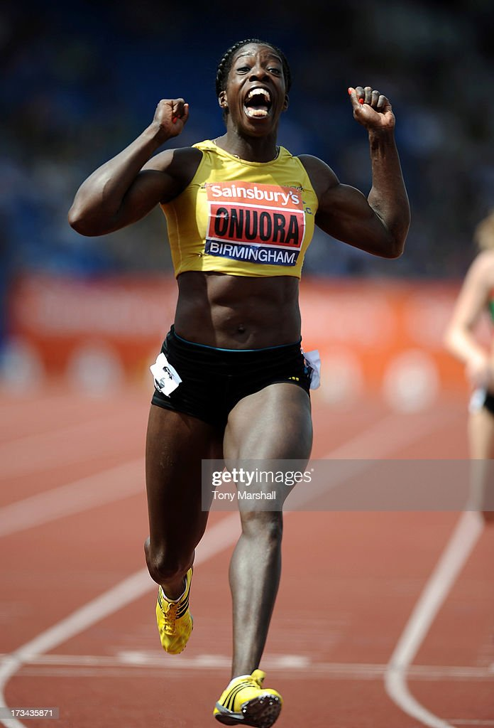 Anyika Onuora of Liverpool Harriers celebrates wins the final of the Womens 200m during the Sainsbury's British Championships Birmingham - British Athletics World Trials and UK & England Championships: Day Three at Alexander StaAdium on July 14, 2013 in Birmingham, England.