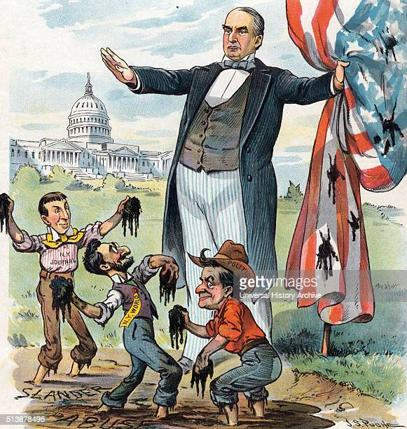 Anything for a scandal' President William McKinley standing at the edge of a mudhole labelled 'Slander' and 'Abuse' holding a mudsplattered American...