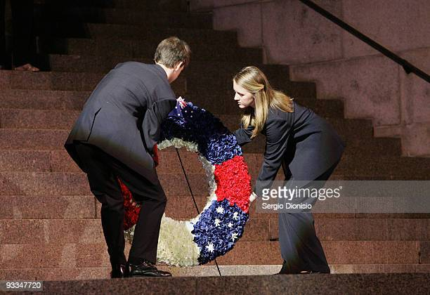 Anzac Memorial Scholars year 12 students Olivia Yeatman and John Drummond lay a wreath on the steps of the ANZAC Memorial during the 75th Anniversary...