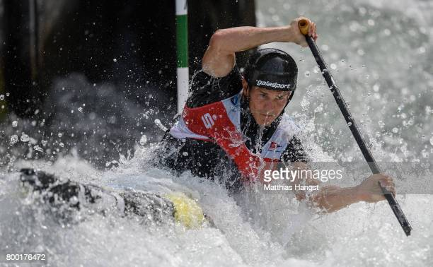 Anze Bercic of Slovenia competes during the Canoe Single Men's Qualification of the ICF Canoe Slalom World Cup on June 23 2017 in Augsburg Germany