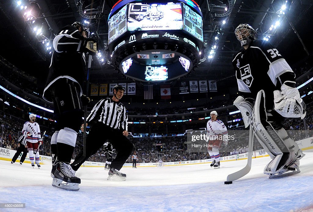 Anze Kopitar #11 and Jonathan Quick #32 of the Los Angeles Kings react after allowing a goal to Mats Zuccarello #36 of the New York Rangers in the first period during Game Two of the 2014 NHL Stanley Cup Final at the Staples Center on June 7, 2014 in Los Angeles, California.