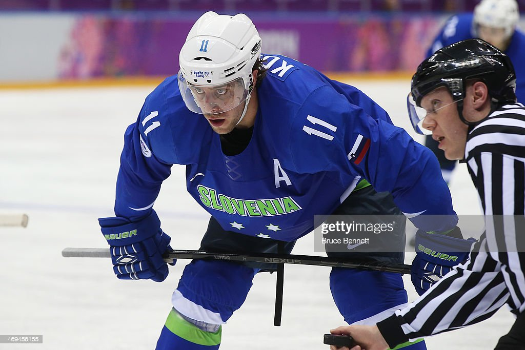 Anze Kopitar of Slovenia looks on in the second period against Slovakia during the Men's Ice Hockey Preliminary Round Group A game on day eight of...