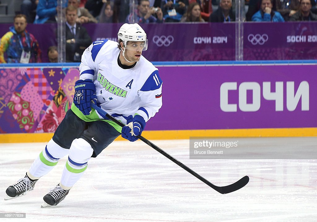 Anze Kopitar of Slovenia skates against Russia during the Men's Ice Hockey Preliminary Round Group A game on day six of the Sochi 2014 Winter...