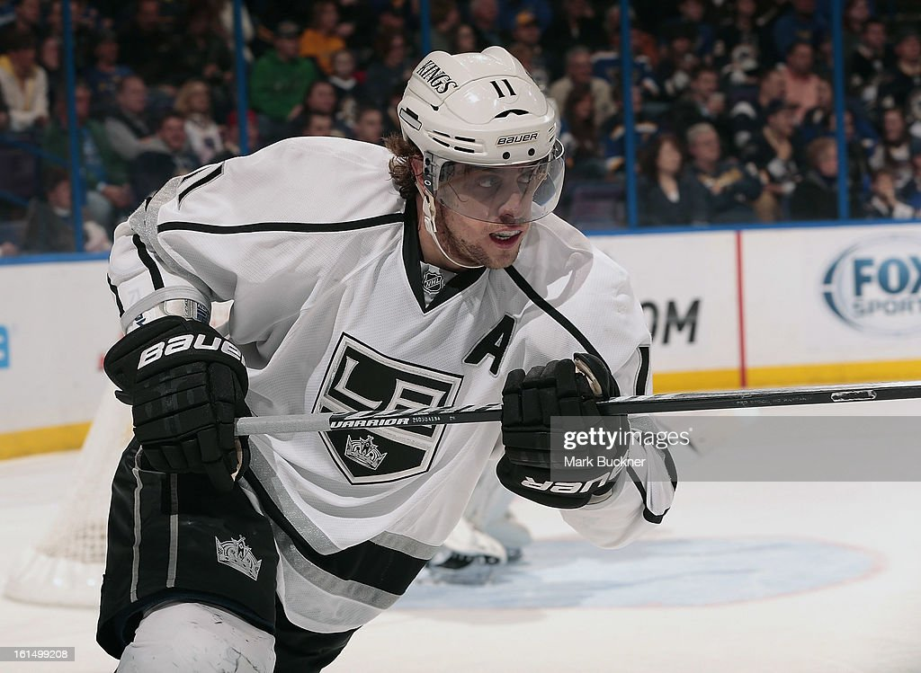<a gi-track='captionPersonalityLinkClicked' href=/galleries/search?phrase=Anze+Kopitar&family=editorial&specificpeople=634911 ng-click='$event.stopPropagation()'>Anze Kopitar</a> #11 of the Anaheim Ducks skates against the St. Louis Blues in an NHL game on February 11, 2013 at Scottrade Center in St. Louis, Missouri.