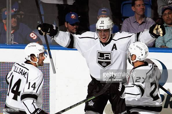 Anze Kopitar of the Los Angeles Kings celebrates his game winning goal at 1537 of the third period against the New York Islanders at the Nassau...