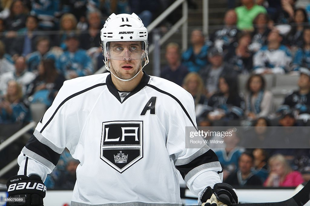 Anze Kopitar #11 of the Los Angeles Kings during a break in play against the San Jose Sharks in Game Two of the First Round of the 2014 NHL Stanley Cup Playoffs at SAP Center on April 20, 2014 in San Jose, California.