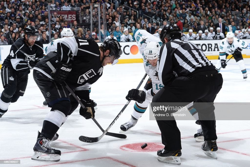 Anze Kopitar of the Los Angeles Kings faces off against Joe Thornton of the San Jose Sharks in Game Three of the First Round of the 2014 Stanley Cup...