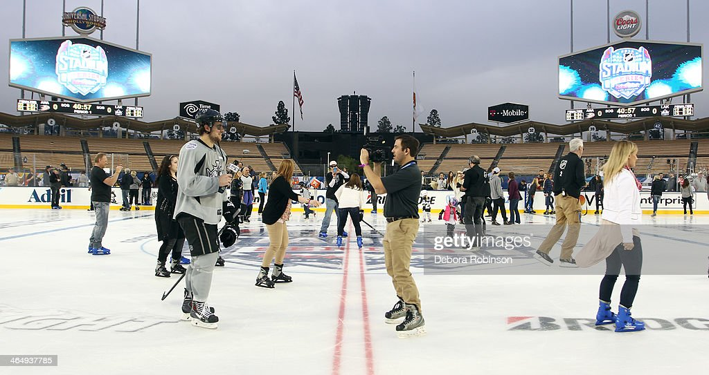 <a gi-track='captionPersonalityLinkClicked' href=/galleries/search?phrase=Anze+Kopitar&family=editorial&specificpeople=634911 ng-click='$event.stopPropagation()'>Anze Kopitar</a> #11 of the Los Angeles Kings gives an interview after team practice in preparation for the 2014 Coors Light NHL Stadium Series against the Anaheim Ducks at Dodger Stadium on January 24, 2014 in Los Angeles, California.