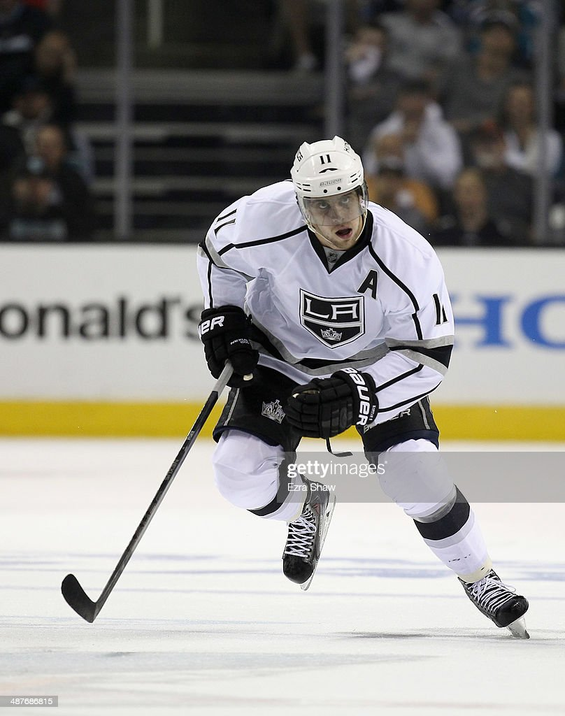 <a gi-track='captionPersonalityLinkClicked' href=/galleries/search?phrase=Anze+Kopitar&family=editorial&specificpeople=634911 ng-click='$event.stopPropagation()'>Anze Kopitar</a> #11 of the Los Angeles Kings in action against the San Jose Sharks in Game Two of the First Round of the 2014 NHL Stanley Cup Playoffs at SAP Center on April 20, 2014 in San Jose, California.