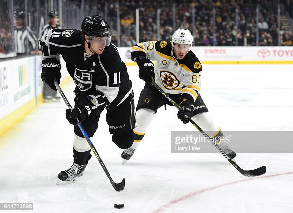 Anze Kopitar of the Los Angeles Kings keeps the puck from Brad Marchand of the Boston Bruins while on the powerplay during the second period at...