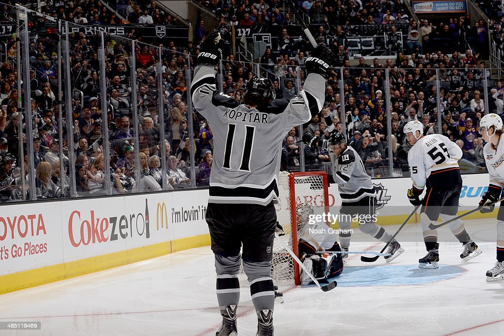 Anze Kopitar #11 of the Los Angeles Kings reacts after scoring a goal against the Anaheim Ducks at Staples Center on April 12, 2014 in Los Angeles, California.