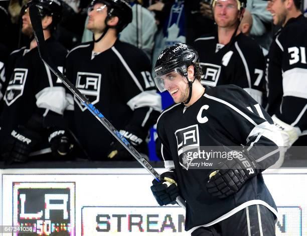 Anze Kopitar of the Los Angeles Kings reacts to his goal in overtime shootout on way to a 32 win over the Toronto Maple Leafs at Staples Center on...