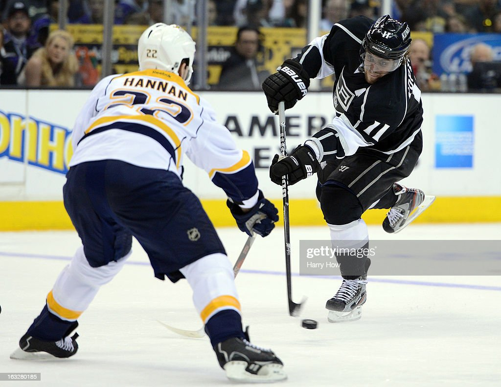 <a gi-track='captionPersonalityLinkClicked' href=/galleries/search?phrase=Anze+Kopitar&family=editorial&specificpeople=634911 ng-click='$event.stopPropagation()'>Anze Kopitar</a> #11 of the Los Angeles Kings shoots on <a gi-track='captionPersonalityLinkClicked' href=/galleries/search?phrase=Scott+Hannan&family=editorial&specificpeople=203195 ng-click='$event.stopPropagation()'>Scott Hannan</a> #22 of the Nashville Predators at Staples Center on March 4, 2013 in Los Angeles, California.