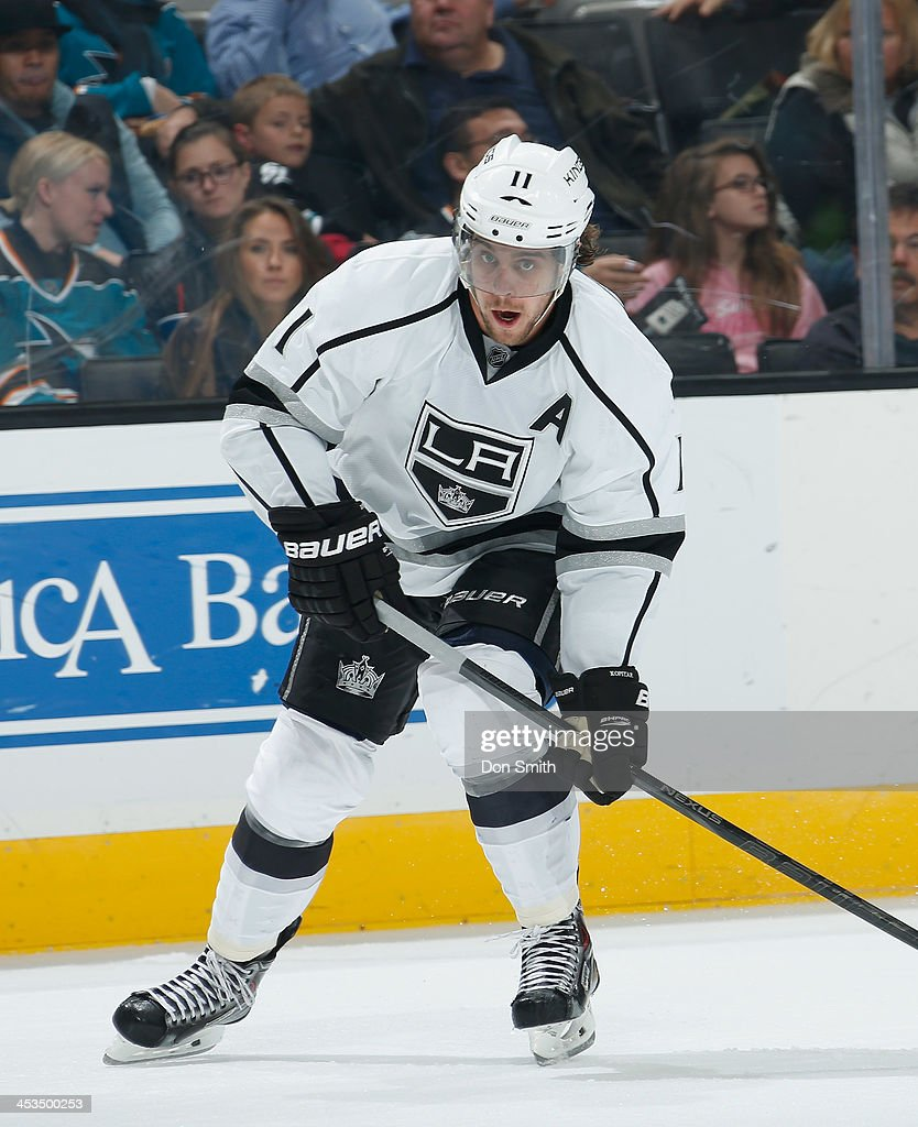 <a gi-track='captionPersonalityLinkClicked' href=/galleries/search?phrase=Anze+Kopitar&family=editorial&specificpeople=634911 ng-click='$event.stopPropagation()'>Anze Kopitar</a> #11 of the Los Angeles Kings skates after the puck against the San Jose Sharks during an NHL game on November 27, 2013 at SAP Center in San Jose, California.