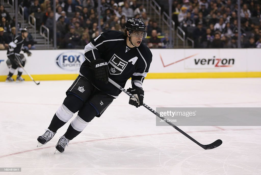 Anze Kopitar #11 of the Los Angeles Kings skates against the Nashville Predators at Staples Center on January 31, 2013 in Los Angeles, California.