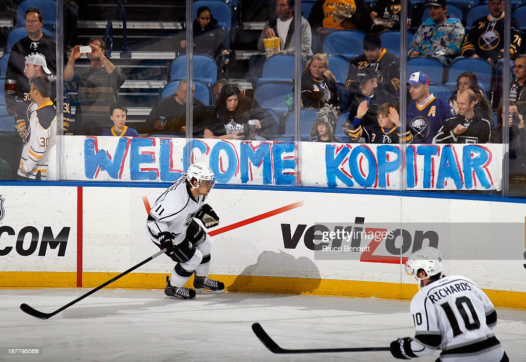 Anze Kopitar #11 of the Los Angeles Kings skates in warm-ups prior to the game against the Buffalo Sabres at the First Niagara Center on November 12, 2013 in Buffalo, New York.