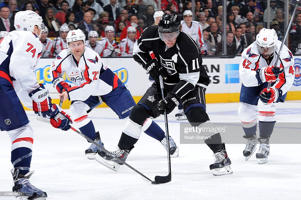 <a gi-track='captionPersonalityLinkClicked' href=/galleries/search?phrase=Anze+Kopitar&family=editorial&specificpeople=634911 ng-click='$event.stopPropagation()'>Anze Kopitar</a> #11 of the Los Angeles Kings skates with the puck against the Washington Capitals at Staples Center on March 20, 2014 in Los Angeles, California.