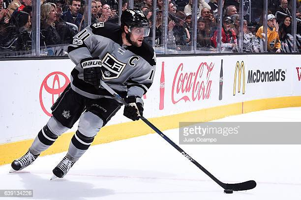 Anze Kopitar of the Los Angeles Kings skates with the puck during the game against the Winnipeg Jets on January 14 2017 at Staples Center in Los...