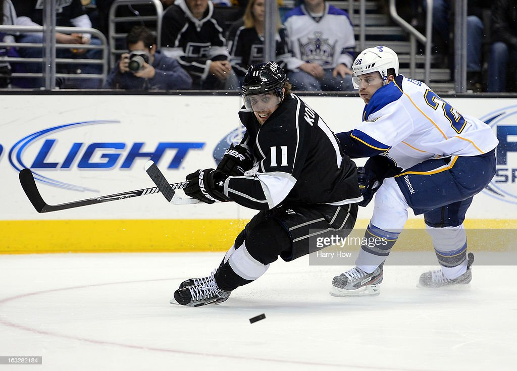 <a gi-track='captionPersonalityLinkClicked' href=/galleries/search?phrase=Anze+Kopitar&family=editorial&specificpeople=634911 ng-click='$event.stopPropagation()'>Anze Kopitar</a> #11 of the Los Angeles Kings turns away from Ian Cole #28 of the St. Louis Blues for the puck at Staples Center on March 5, 2013 in Los Angeles, California.