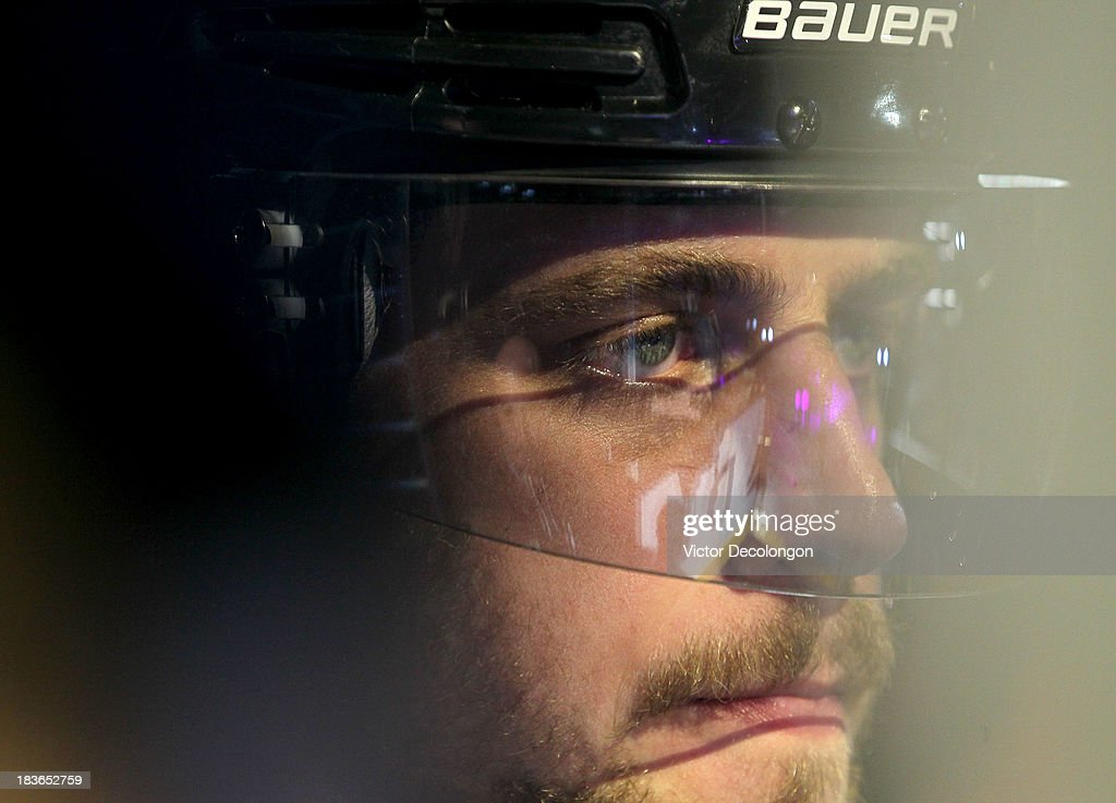 <a gi-track='captionPersonalityLinkClicked' href=/galleries/search?phrase=Anze+Kopitar&family=editorial&specificpeople=634911 ng-click='$event.stopPropagation()'>Anze Kopitar</a> #11 of the Los Angeles Kings waits to take the ice prior to the NHL game against the New York Rangers at Staples Center on October 7, 2013 in Los Angeles, California. The Rangers defeated the Kings 3-1.