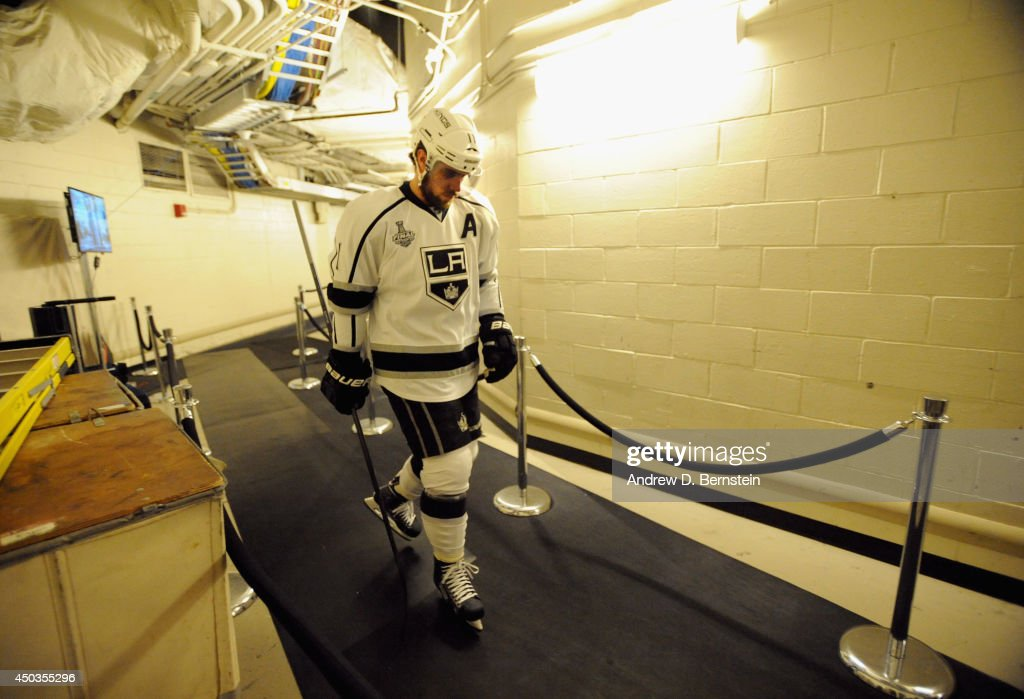 Anze Kopitar of the Los Angeles Kings walks towards the ice before taking on the New York Rangers in Game Three of the 2014 Stanley Cup Final at...