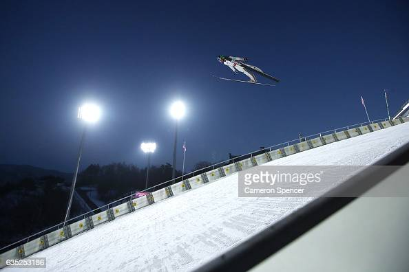 Anze Lanisek of Slovenia jumps during trainining for the 2017 FIS Ski Jumping World Cup test event For PyeongChang 2018 at Alpensia Ski Jumping...