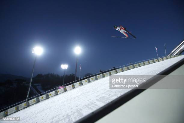 Anze Semenic of Slovenia jumps during trainining for the 2017 FIS Ski Jumping World Cup test event For PyeongChang 2018 at Alpensia Ski Jumping...