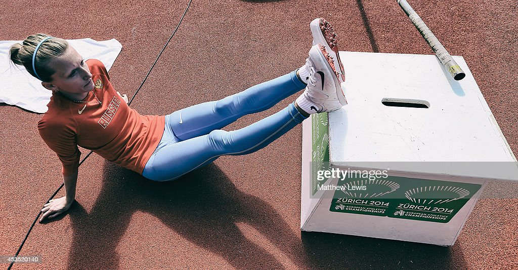 Anzhelika Sidorova of Russia rests in between jumps during the Womens Pole Vault heats during day one of the 22nd European Athletics Championship at Stadium Letzigrund on August 12, 2014 in Zurich, Switzerland.
