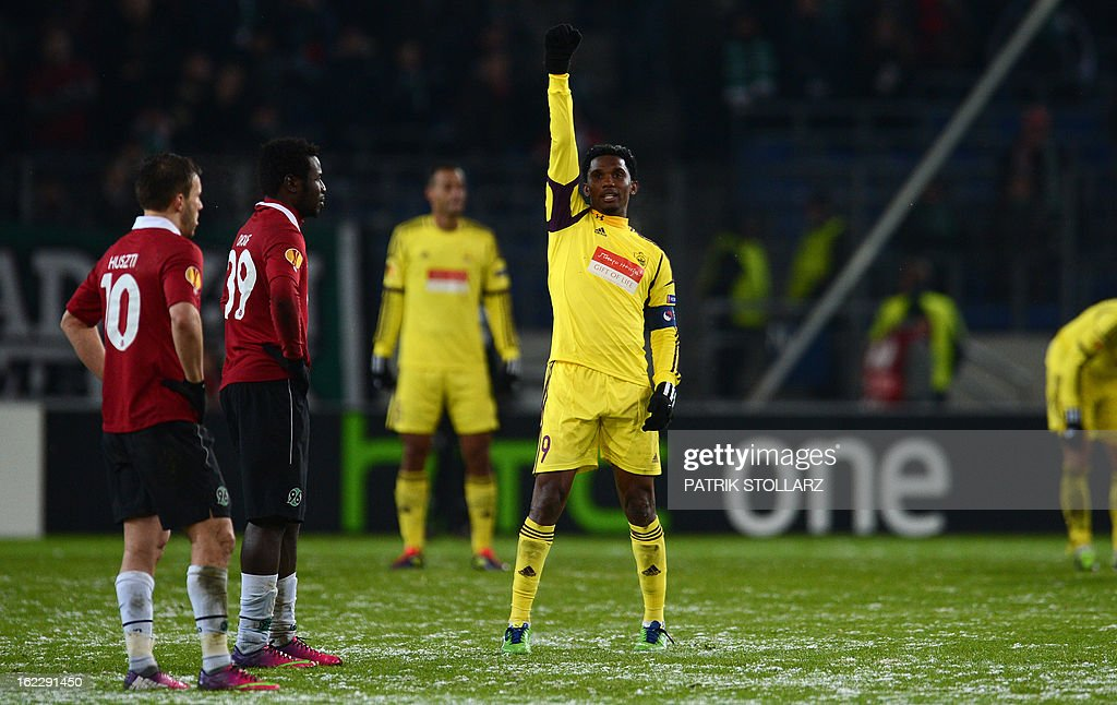 Anzhi Makhachkala's Cameroonian striker Samuel Eto'o celebrates after the UEFA Europa League Round of 32 football match Hannover 96 vs FC Anzhi Makhachkala in Hanover, northern Germany on February 21, 2013. The match ended 1-1. AFP PHOTO / PATRIK STOLLARZ