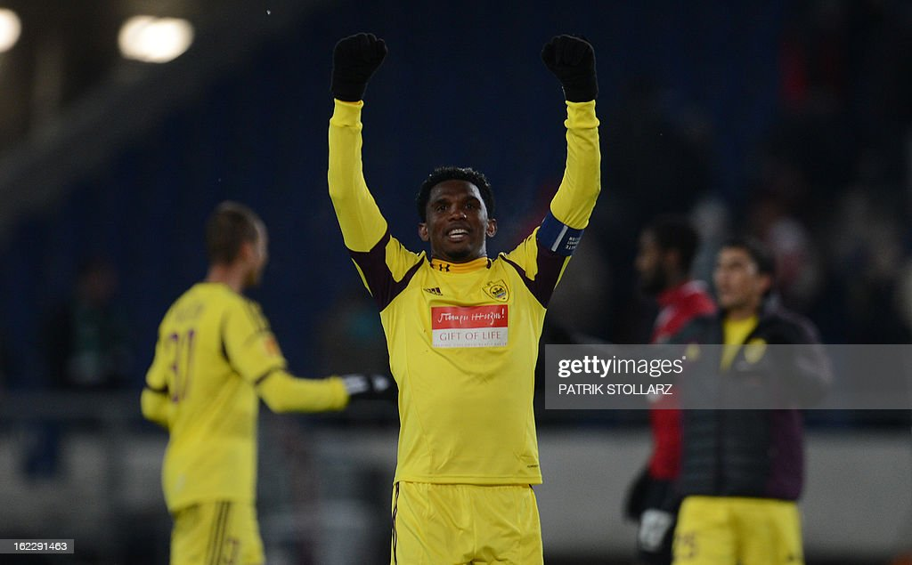 Anzhi Makhachkala's Cameroonian striker Samuel Eto'o celebrates after the UEFA Europa League Round of 32 football match Hannover 96 vs FC Anzhi Makhachkala in Hanover, northern Germany on February 21, 2013. The match ended 1-1.