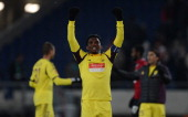 Anzhi Makhachkala's Cameroonian striker Samuel Eto'o celebrates after the UEFA Europa League Round of 32 football match Hannover 96 vs FC Anzhi...