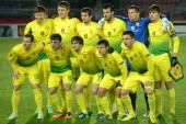 FC Anzhi Makhachkala's players pose before UEFA Europa League round of 16 football match between FC Anzhi Makhachkala and AZ Alkmaar in Ramenskoye...