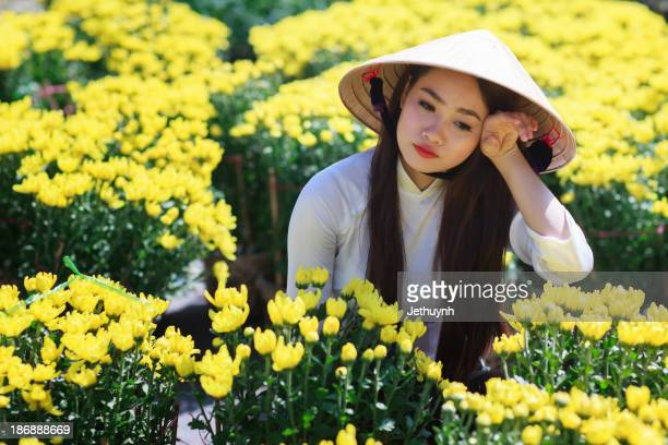 Ao Dai in Spring flowers