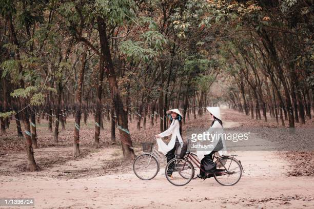 Ao Dai with leaf Hat and bicycle