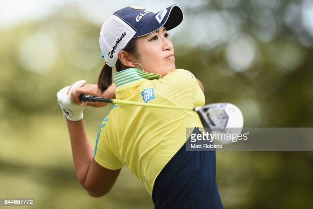 Aoi Ohnishi of Japan hits her tee shot on the 15th hole during the third round of the 50th LPGA Championship Konica Minolta Cup 2017 at the Appi...