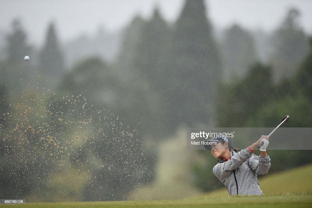Aoi Ohnishi of Japan hits out of the 2nd green bunker during the first round of the Fujitsu Ladies 2017 at the Tokyu Seven Hundred Club on October 13, 2017 in Chiba, Japan.