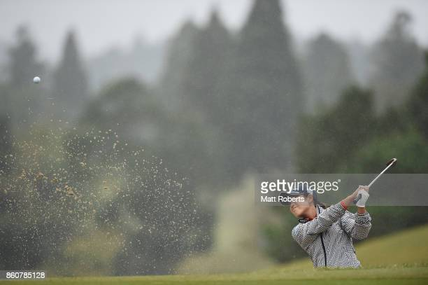 Aoi Ohnishi of Japan hits out of the 2nd green bunker during the first round of the Fujitsu Ladies 2017 at the Tokyu Seven Hundred Club on October 13...
