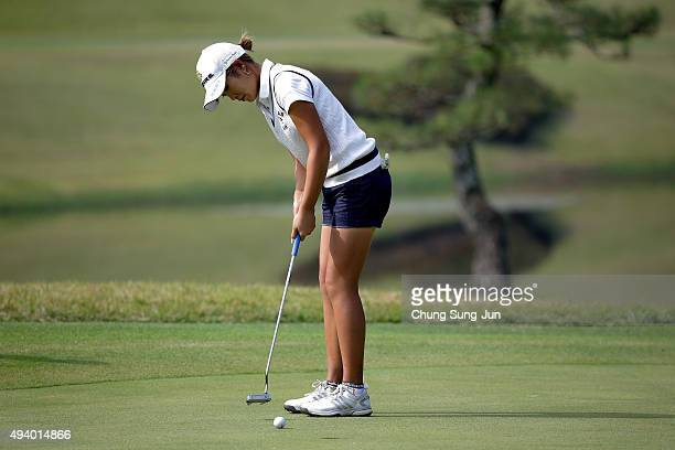 Aoi Ohnishi of Japan plays a putt on the 7th green during the third round of the Nobuta Group Masters GC Ladies at the Masters Gold Club on October...