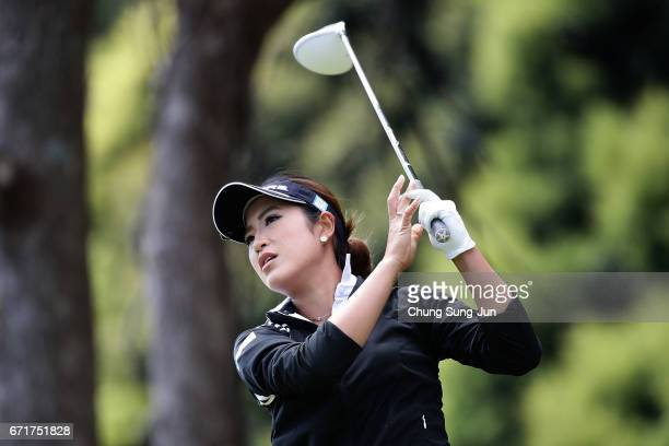 Aoi Ohnishi of Japan plays a tee shot on the 3rd hole during the final round of Fujisankei Ladies Classic at the Kawana Hotel Golf Course Fuji Course...