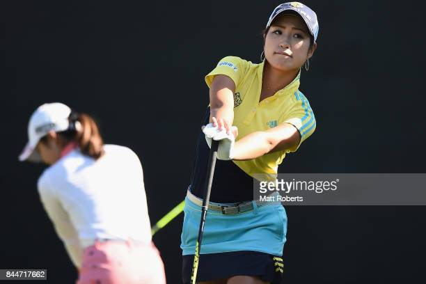 Aoi Ohnishi of Japan waits to tee off on the first hole during the third round of the 50th LPGA Championship Konica Minolta Cup 2017 at the Appi...