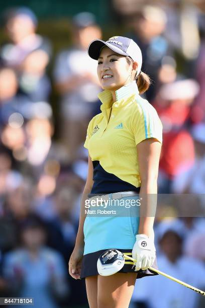 Aoi Ohnishi of Japan watches her tee shot on the first hole during the third round of the 50th LPGA Championship Konica Minolta Cup 2017 at the Appi...