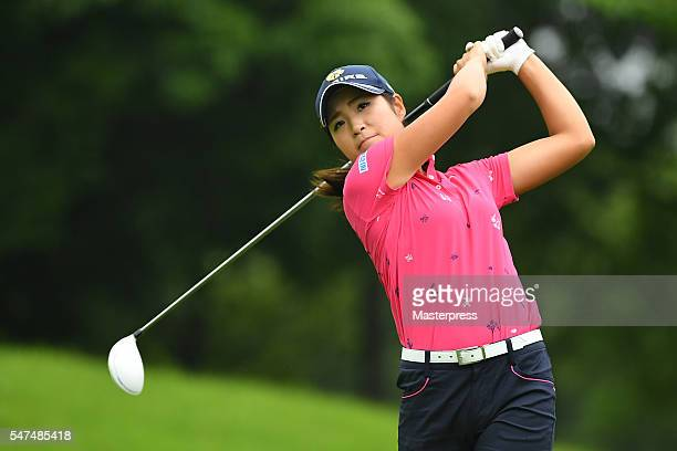 Aoi Onishi of Japan hits her tee shot on the 11th hole during the first round of the Samantha Thavasa Girls Collection Ladies Tournament 2016 at the...
