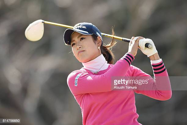 Aoi Onishi of Japan hits her tee shot on the 3rd hole during the first round of the Yokohama Tyre PRGR Ladies Cup at the Tosa Country Club on March...