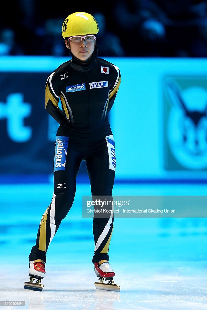 Aoi Watanabae of Japan prepares prior to the ladies 1000m semifinal second race heat one during Day 3 of ISU Short Track World Cup at Sportboulevard on February 14, 2016 in Dordrecht, Netherlands.